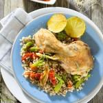 Cebada perlada con pollo asado