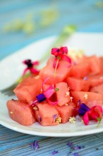 watermelon with flowers