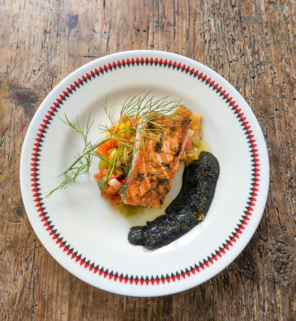 salmon with peppers stew