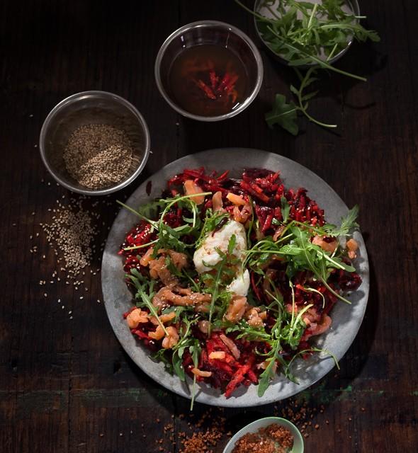 Root and salmon salad